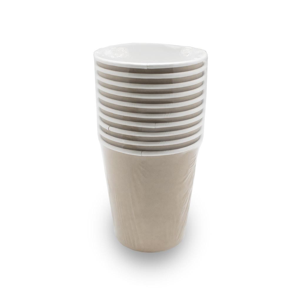 Комплект одноразовых бумажных крафт стаканов 250 мл по 10 шт/уп